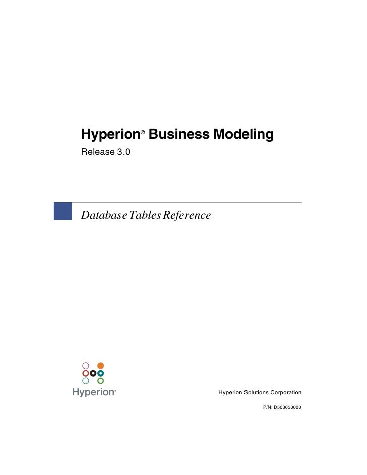 Hyperion Business Modeling              ®Release 3.0Database Tables Reference                            Hyperion Solution...