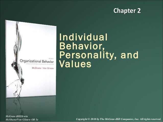 Individual Behavior, Personality, and Values  McGraw-Hill/Irwin McShane/Von Glinow OB 5e  Copyright © 2010 by The McGraw-H...