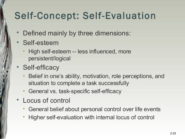High Self Concept Self-concept Self-evaluation