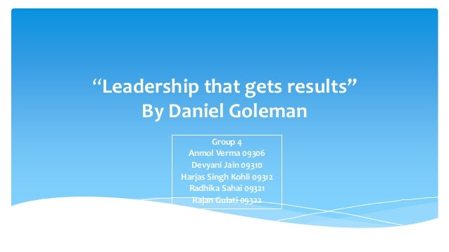 leadership that gets results pdf goleman