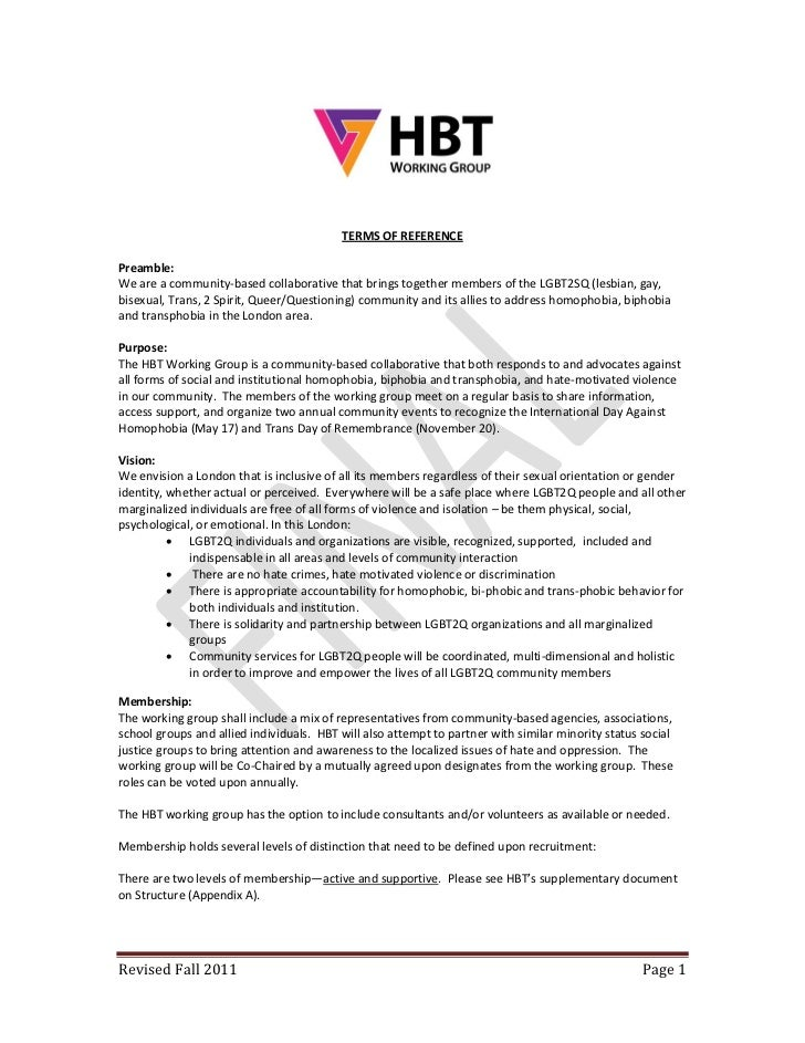 Hbt tor revised fall 2011