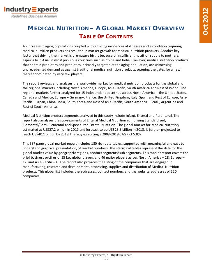 Oct 2012   MEDICAL NUTRITION – A GLOBAL MARKET OVERVIEW                                     TABLE 0F CONTENTSAn increase i...