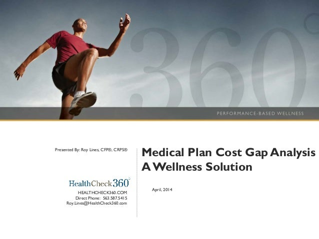 Medical Plan Cost Gap Analysis AWellness Solution April, 2014 HEALTHCHECK360.COM Direct Phone: 563.587.5415 Roy.Lines@Heal...
