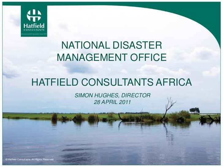 NATIONAL DISASTER                                               MANAGEMENT OFFICE                       HATFIELD CONSULTAN...