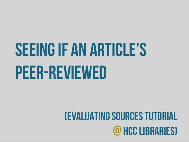 HCC - Seeing if an Article's Peer-Reviewed or Not