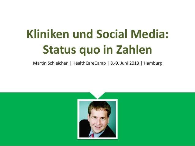 Kliniken und Social Media:Status quo in ZahlenMartin Schleicher | HealthCareCamp | 8.-9. Juni 2013 | Hamburg