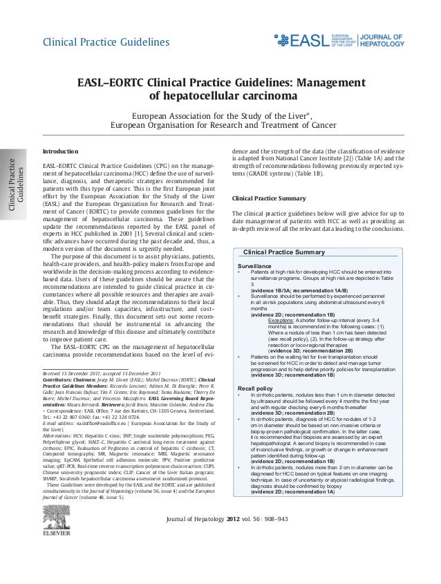Clinical Practice Guidelines                EASL–EORTC Clinical Practice Guidelines: Management                           ...
