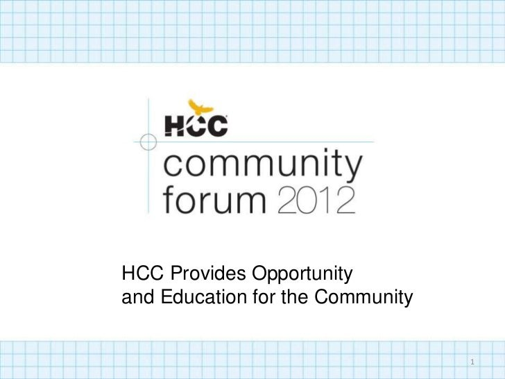 HCC Provides Opportunityand Education for the Community                                  1