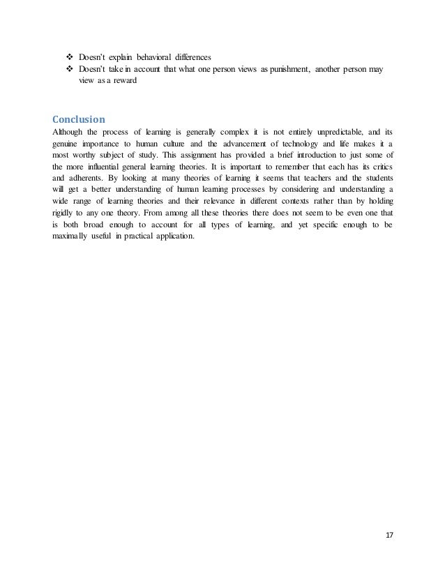 Learning theories in education essay outline