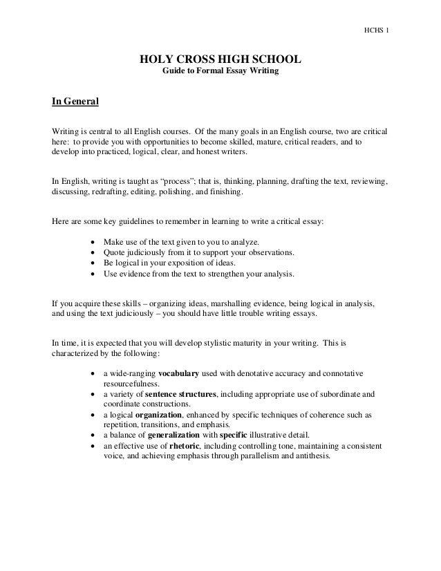 Formal Essay Ideas