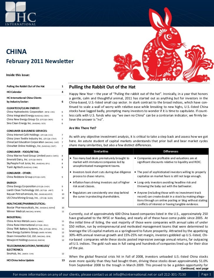 CHINA February 2011 NewsletterCHINAFebruary 2011 NewsletterInside this issue:Pulling the Rabbit Out of the Hat            ...