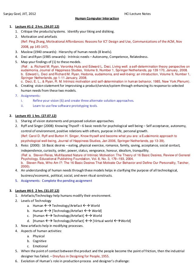 HCI lecture notes by Sanjay Goel, JIIT 2012