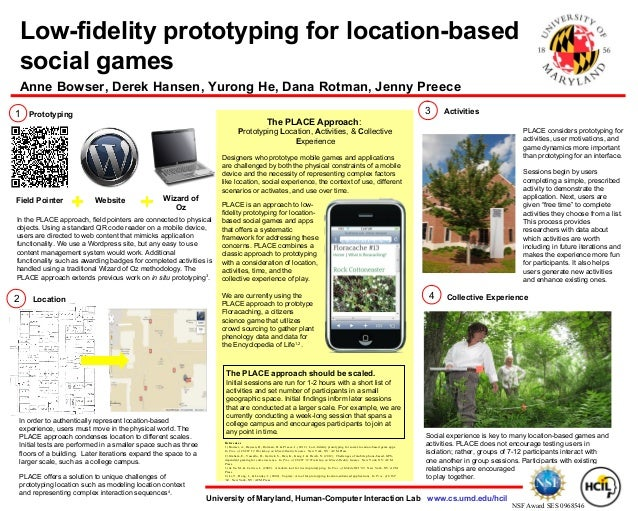 Low Fidelity prototyping for location based social games