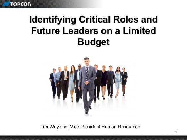 1 Identifying Critical Roles andIdentifying Critical Roles and Future Leaders on a LimitedFuture Leaders on a Limited Budg...