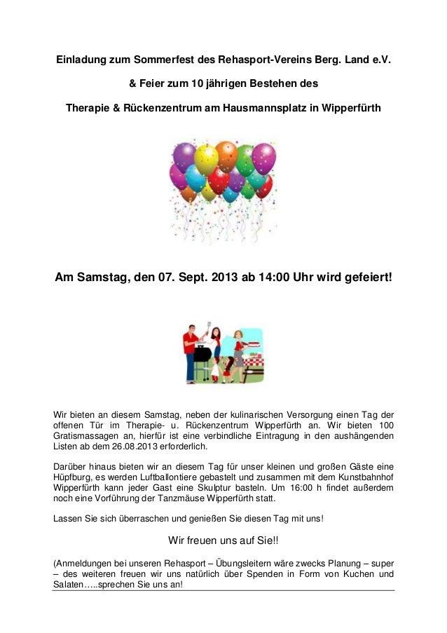 Einladung zum Sommerfest des Rehasport-Vereins Berg. Land e.V. & Feier zum 10 jährigen Bestehen des Therapie & Rückenzentr...
