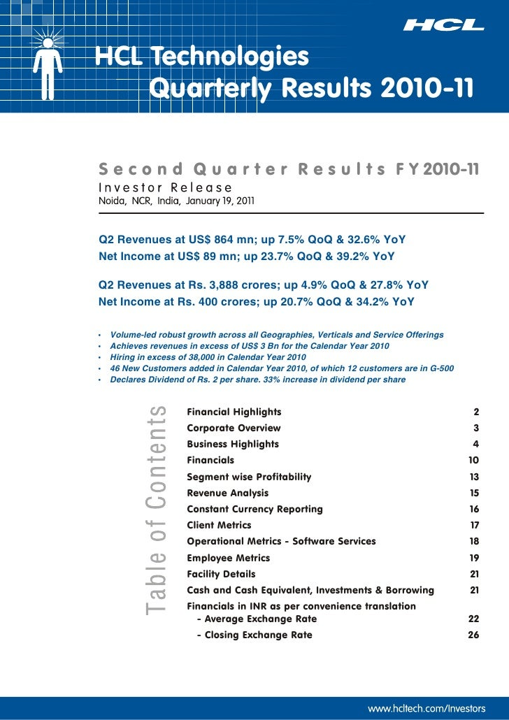 HCL Tech Results Q2-2011-Investor Release