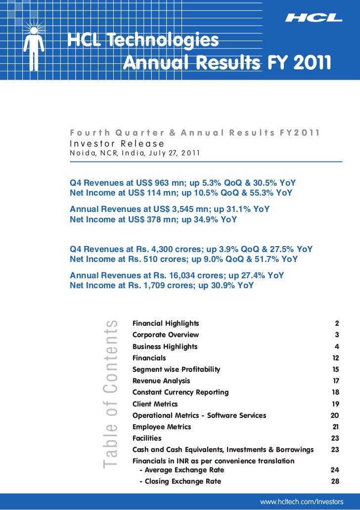HCL Technologies Q4-2011- IR Release