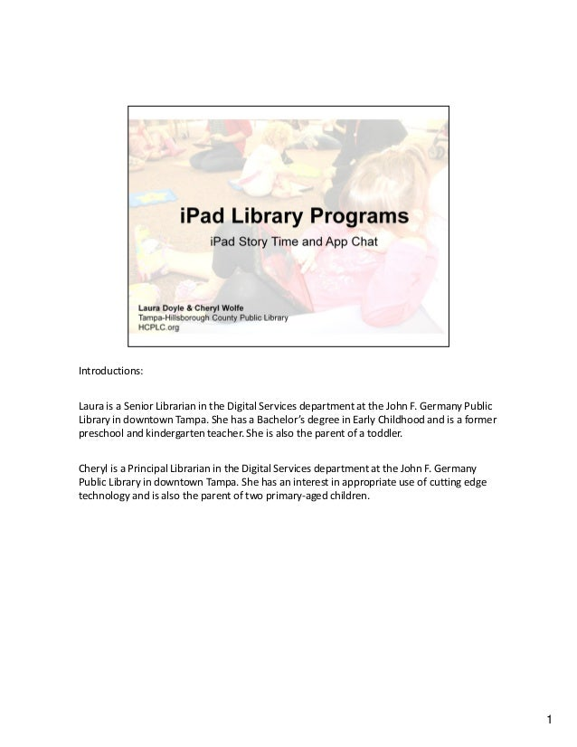 iPad Library Programs iPad Story Time and App Chat by