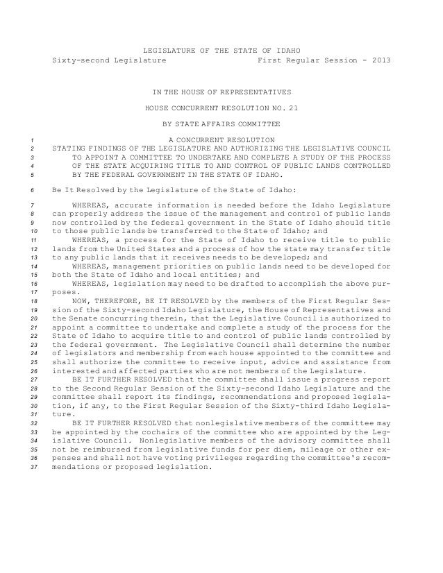 LEGISLATURE OF THE STATE OF IDAHO Sixty-second Legislature First Regular Session - 2013  IN THE HOUSE OF REPRESENTATIVES H...