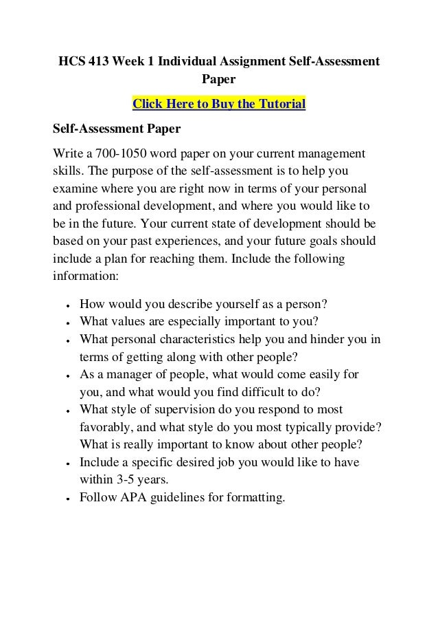 Assessment Paper Self-assessment Paper