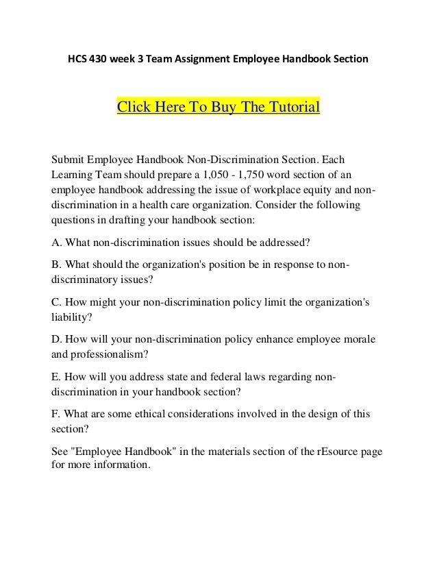 hcs 430 team a employee handbook