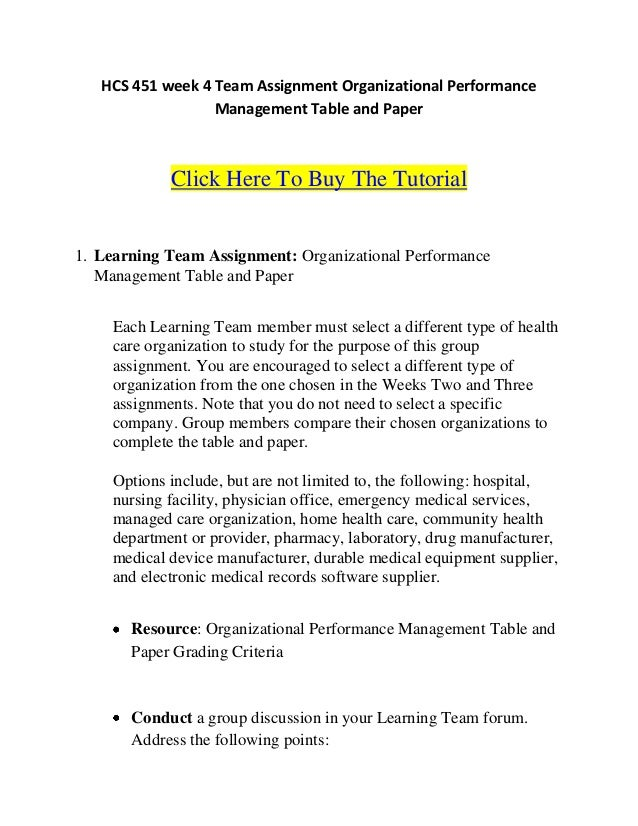 HCS 451 week 4 Team Assignment Organizational Performance                  Management Table and Paper            Click Her...