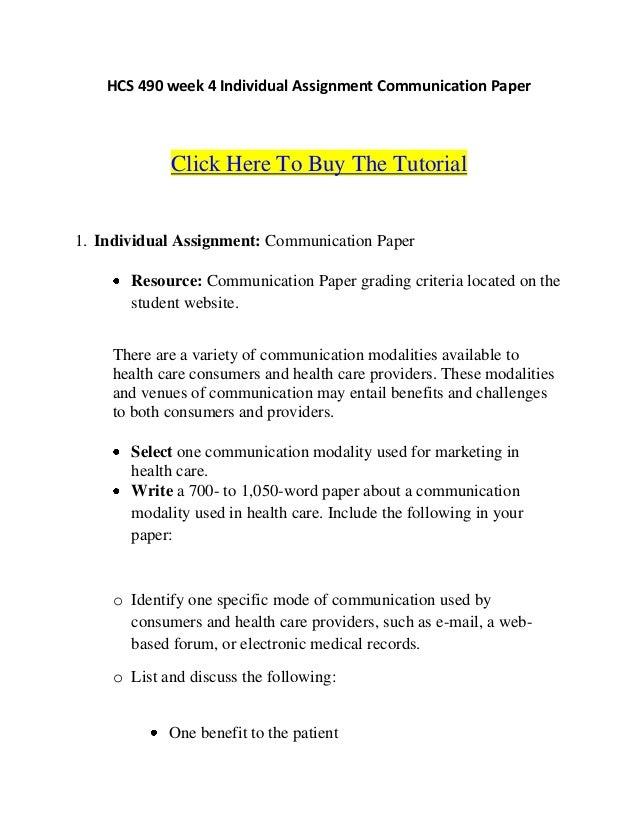 hcs 490 week 4 communication paper