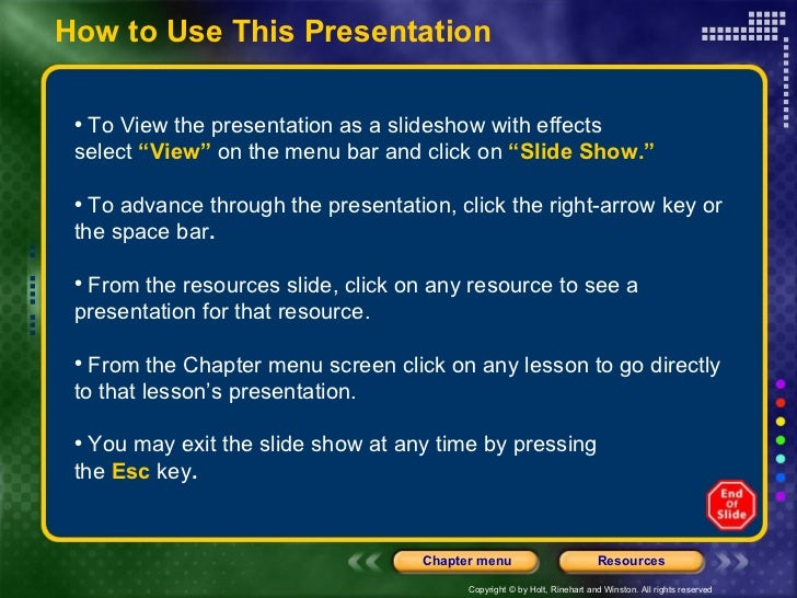 "<ul><li>To View the presentation as a slideshow with effects  </li></ul><ul><li>select   ""View""   on the menu bar and clic..."