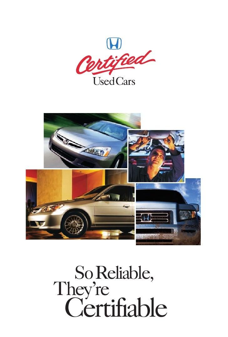 Honda Certified Used Cars Brochure | DCH Honda of Temecula