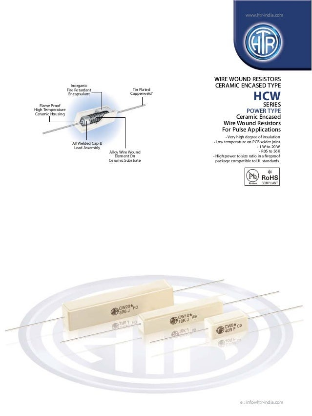 HTR India - Products - Wire Wound Resistors - Ceramic Encased Resistor - HCW (English)