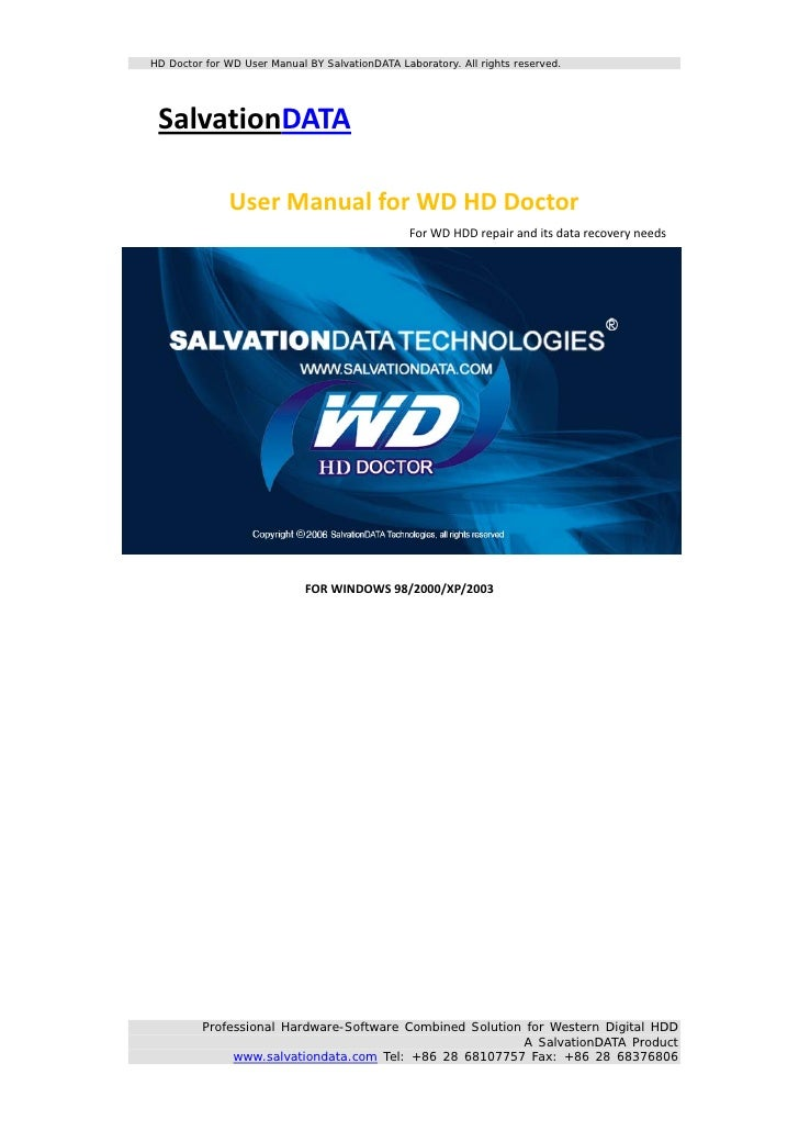 Hd Doctor For Wd User Manual Ver 2 0