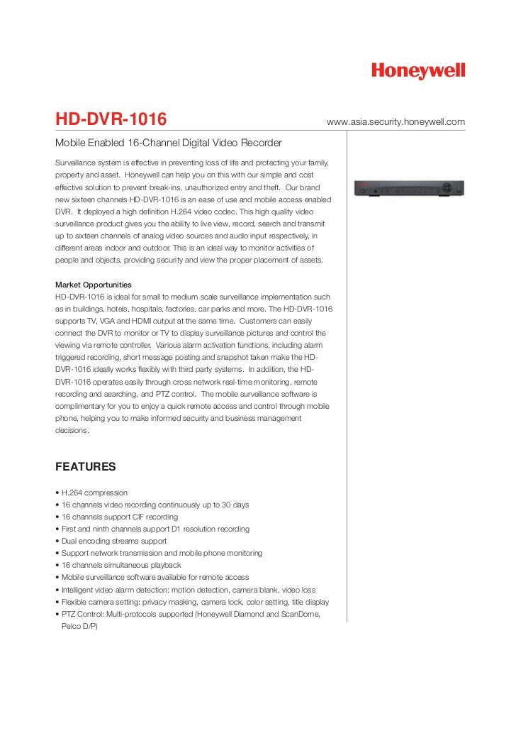 HD-DVR-1016                                                                            www.asia.security.honeywell.comMobi...