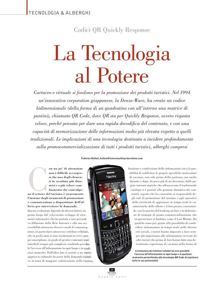 TECNOLOGIA & ALBERGHI                                         Codici QR Quickly Response                         La Tecnol...