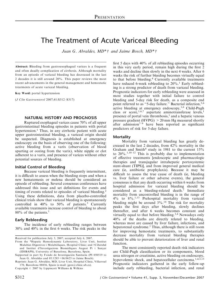 PRESENTATION                        The Treatment of Acute Variceal Bleeding                                      Juan G. ...