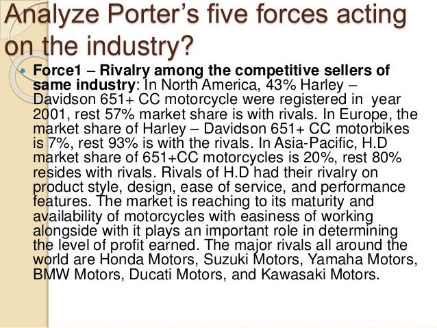 harley davidson five forces analysis essay Read harley-davidson porter's 5 forces free essay and over 88,000 other research documents harley-davidson porter's 5 forces porter's 5 forces threat of new entrants: low like any automobiles, harley-davidson's industry requires large manufacturing facilities and equipments to.