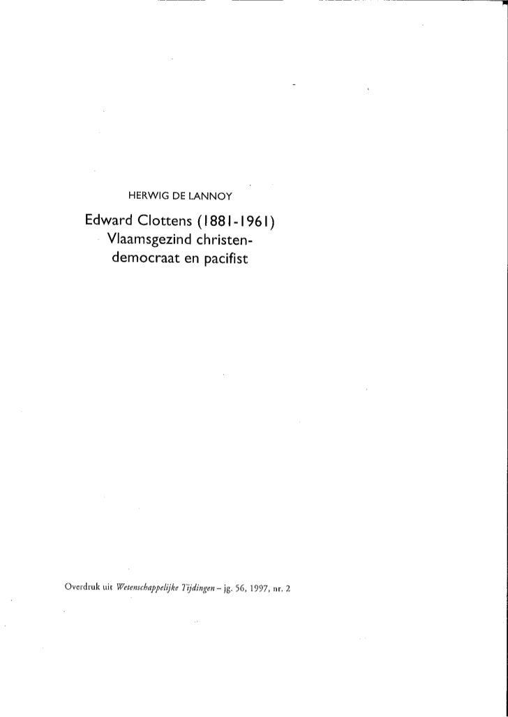 H De Lannoy Art Edward Clottens In Wetenschappelijke Tijdingen 1997 Overdruk