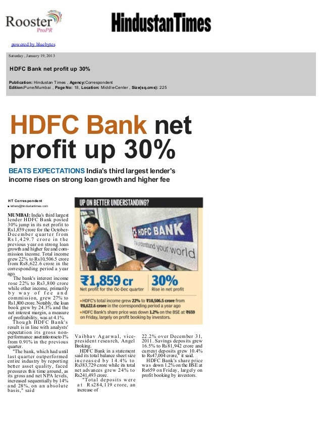 HDFC Bank net profit up 30%