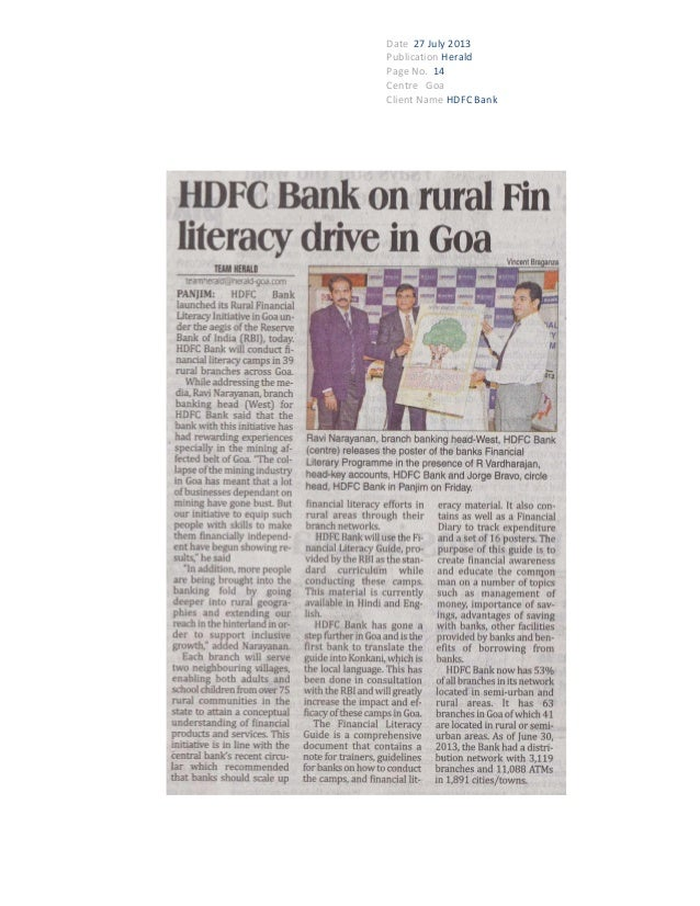 Date 27 July 2013 Publication Herald Page No. 14 Centre Goa Client Name HDFC Bank