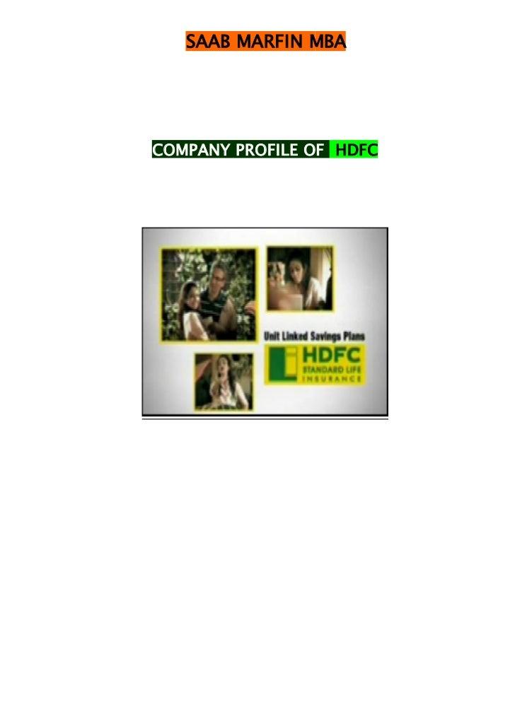 SAAB MARFIN MBACOMPANY PROFILE OF HDFC