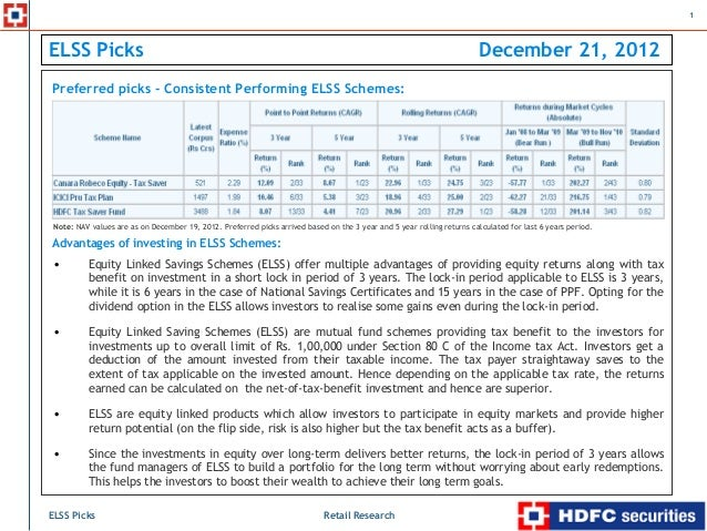 HDFC sec - ELSS picks - 21 Dec 2012