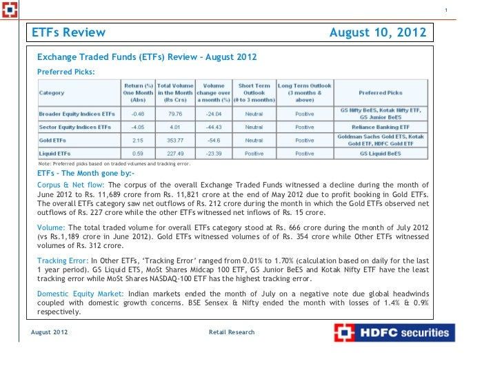 ETFs review - August 2012