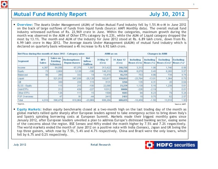1Mutual Fund Monthly Report                                                                July 30, 2012  Overview: The As...