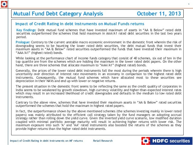 Impact of credit rating in debt instruments on mutual funds returns
