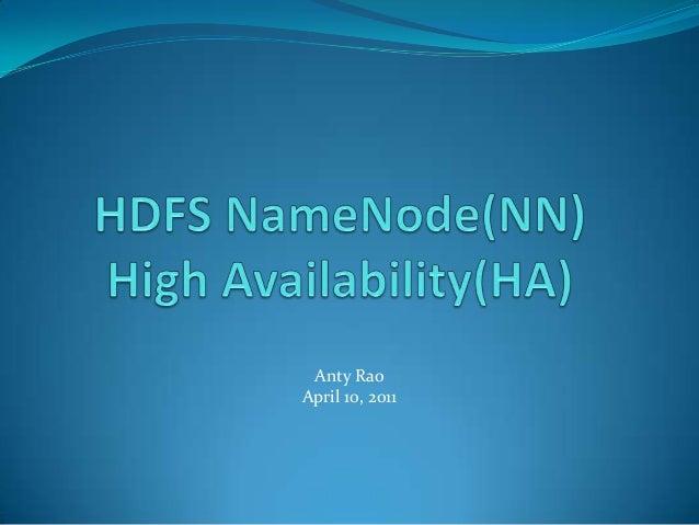 Hadoop HDFS NameNode HA