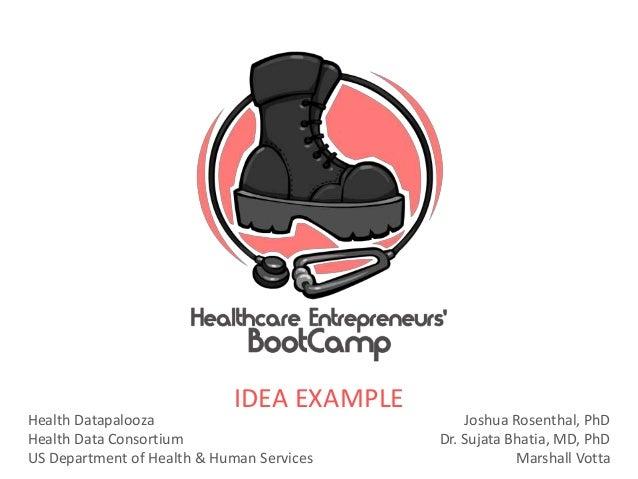 Health DatapaloozaHealth Data ConsortiumUS Department of Health & Human ServicesJoshua Rosenthal, PhDDr. Sujata Bhatia, MD...