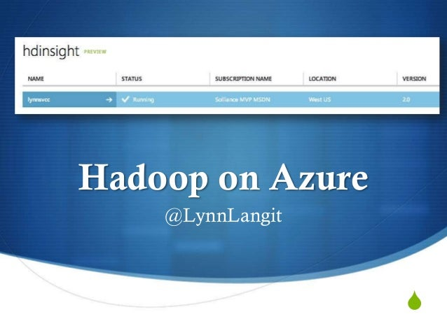 HDInsight Hadoop on Windows Azure