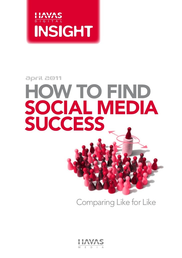 April 2011how to findSOCIAl Mediasuccess             Comparing Like for Like