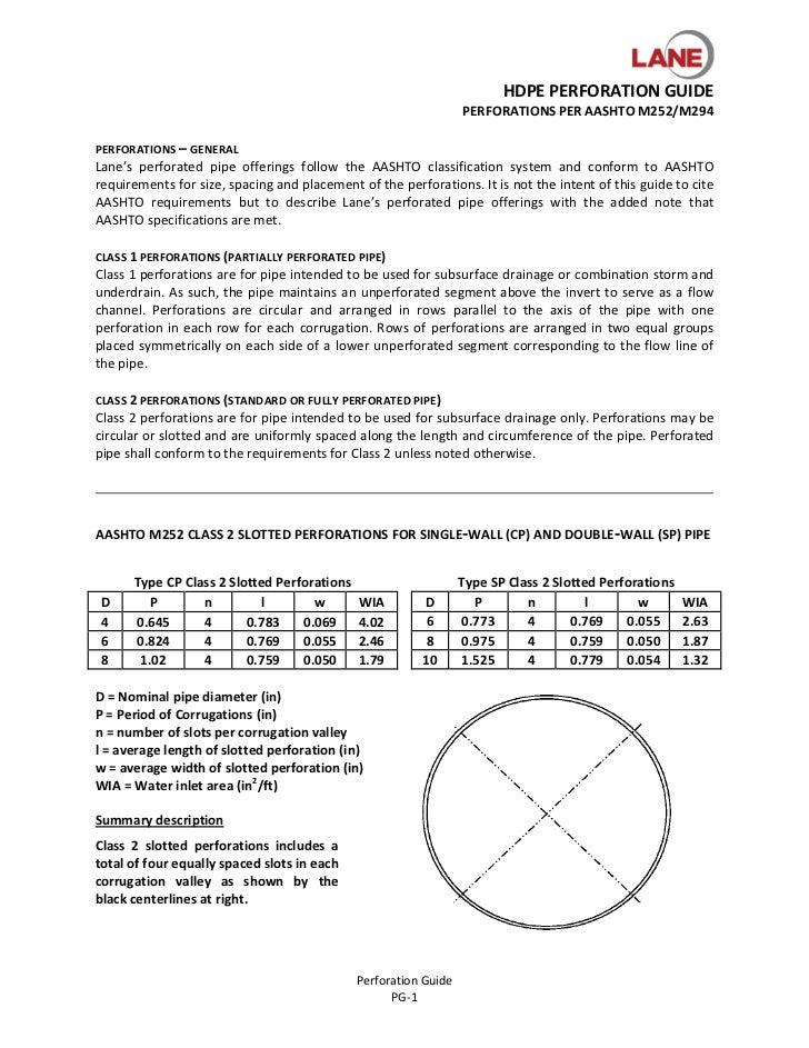 HDPEPERFORATIONGUIDE                                                                     PERFORATIONSPERAASHTOM252/M...