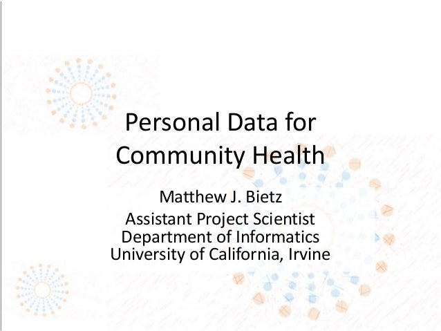 Personal Data for Community Health