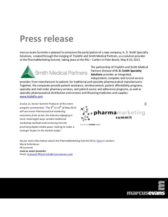 HD Smith Specialty Solutions to join the marcus evans PharmaMarketing Summit 2013